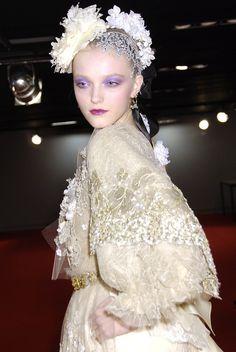 Vlada Roslyakova backstage at Christian Lacroix haute couture Spring 2007