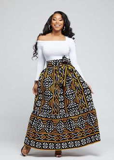 Zahra Nyah African Print Maxi Skirt With Tie (Black Gold Mudcloth) – Skirts Sets Zahra Fashion African Print Jumpsuit, African Print Skirt, African Print Clothing, African Print Dresses, African Print Fashion, African Dress Designs, African Prints, African Fashion Designers, Africa Fashion