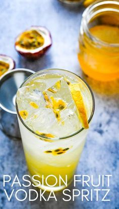 Want a tropical summer cocktail? This quick and easy passion fruit drink is the best! It's a tropical beverage that's like a trip to the Caribbean islands with passion fruit simple syrup, vodka, fresh lemon juice and sparkling water or club soda. This light quenching sipper can be made by the glass or by the pitcher for a crowd. #passionfruit #vodkacocktails