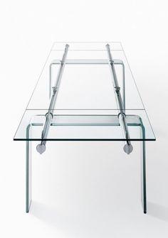 Extending crystal #table STILT GLASS by Desalto #glass