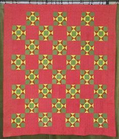Antique-PA-Antique-c1880-QUILT-Turkey-Red-Green-Yellow-Stars