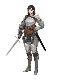 190618 by Sonech . Female Character Design, Character Design References, Character Design Inspiration, Character Concept, Character Art, Female Armor, Female Knight, Fantasy Armor, Medieval Fantasy