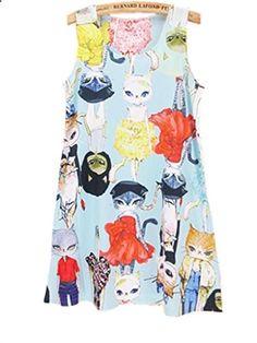 YICHUN Summer Miss Cat Vest Sleeveless Long Loose Tops Casual Women Mini Dress Tanks. More description on the website.