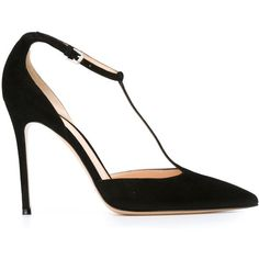 Gianvito Rossi Mary Jane Pumps (975 CAD) ❤ liked on Polyvore featuring shoes, pumps, heels, black, pointed-toe pumps, t strap mary janes, black pointed-toe pumps, mary-janes and black t strap pumps