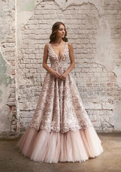 Flavia wedding dress A-line powder color lace bridal gown Indian Wedding Outfits, Bridal Outfits, Indian Beach Wedding, Bridal Lehenga, Bridal Gowns, Lehenga Choli, Anarkali, Prom Dresses, Formal Dresses