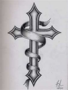1. Similar cross I drew with angel halo, wings, and ribbon. Kat Von D was gonna do before injury. (DCJ)