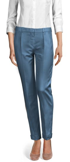 Design your Custom Made to Measure womens dress pants at Sumissura. High waist or normal, Pleated, slim fit or wide-leg, wool or linen pants. Cuffed Pants, Trousers, Dress Pants, Shirt Dress, Fall Pants, Linen Pants, Suits For Women, Perfect Fit, Slim