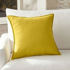 """Crate & Barrel Sunbrella ® Sulfur 20"""" Sq. Outdoor Pillow ($26) ❤ liked on Polyvore featuring home, outdoors, outdoor decor, outdoor accent pillows, outdoor throw pillows, outdoor pillows, yellow outdoor pillows and outdoor patio decor"""