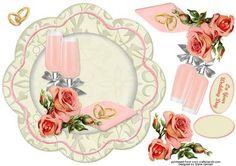 Champagne Roses Scalloped Card Front on Craftsuprint - View Now!