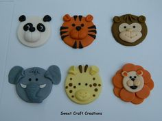 Zoo Animals Fondant Cupcake Toppers 12 by SweetCraftCreations