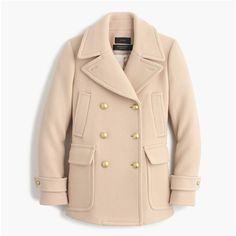 J.Crew Tall Stadium-Cloth Majesty Peacoat ($410) ❤ liked on Polyvore featuring outerwear, coats, j crew peacoat, beige pea coat, pea coat, evening coat and j.crew