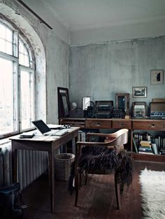 cement wall + wood furnishings