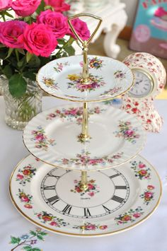 Time For Tea 3 Tier Vintage Cake Stand