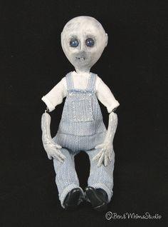 Charlie:  Little zombie boy art doll - #ooak #artdoll #zombie #odddoll #undead #zombiedoll #bentwhimsstudio