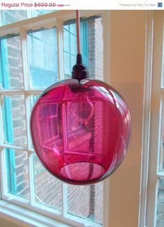 Fathers Day Sale LARGE Fuscia  Poppy Hanging by providenceartglass, $510.00