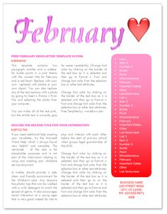 February newsletter template http://www.worddraw.com/february-newsletter-template.html
