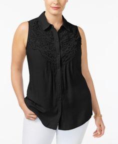 Ny Collection Plus Size Lace-Trim Blouse -