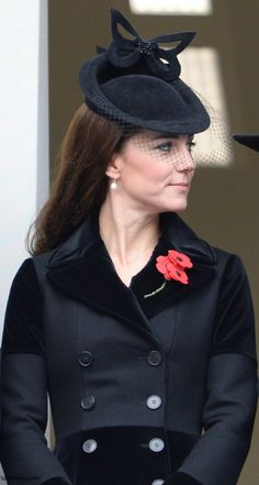 duchesskate:  Remembrance Sunday, November 8, 2015-Duchess of Cambridge in a bespoke Alexander McQueen Velvet Trim Double Breasted Wool Coat, veiled black hat, and Annoushka pearls worn with the traditional red poppies