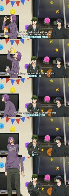 Kuroko no Basket: Saikou no Present Desu. Lol Midorima and Himuro were like parents in this scene. Midorima as the serious oto-san. Himuro as the understanding oka-san. Murasakibara as the lazy son.