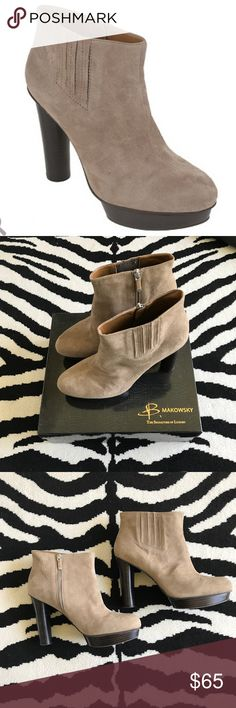 "Taupe Suede Bootie Taupe/Stone Suede Bootie with inside zip entrance. Stacked heel 4 1/2"" with a platform toe 1"". Quality leather shoe, lightly worn. B Makowsky Shoes Ankle Boots & Booties"