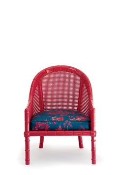 The makeover:Dingy paint and fabric kept these caned chairs from a bright future.Fiery red lacquer (Candy Cane Red; benjaminmoore.com) and new chinoiserie upholstery (Coromandel; fschumacher.com) put them back in the seating game.