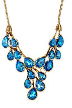 Blue Crystal Cluster Necklace