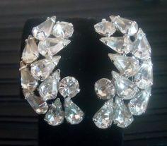 1950's Rhodium Plated Rhinestone Earrings by YesterdayOnceAgain, $22.50