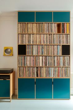 Crouch End Living Room. Plywood Record Storage for large record collection Plywood Furniture, Furniture Design, Bespoke Furniture, Fine Furniture, Contemporary Furniture, Modern Contemporary, Bedroom Furniture, Record Shelf, Vinyl Record Storage
