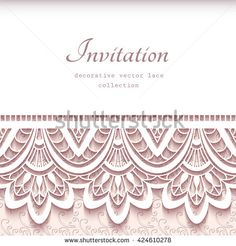 Vintage vector frame with cutout paper lace border, wedding invitation or announcement template