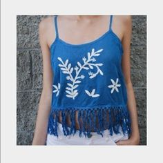 BNWOT Blue Crochet Tank BNWOT never worn blue and white crocheted tank from Paper Crane. Tassels on bottom. Spaghetti adjustable straps. White flower embroidery.  100% cotton. So cute! size medium Paper Crane Tops Tank Tops