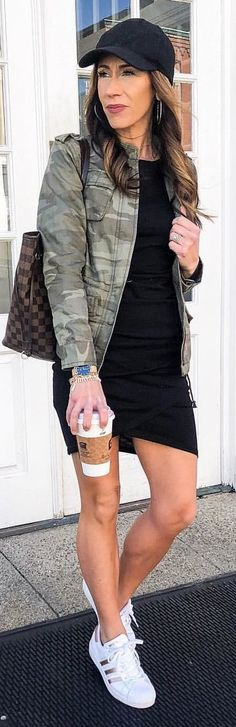 #spring #outfits woman wearing black dress holding cup. Pic by @livinglifepretty