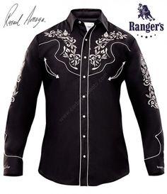 ccfbcf840c5 Compra esta camisa vaquera negra para hombre de Ranger's, con bordados  florales blancos en pecho