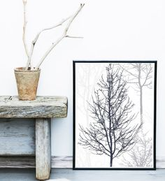Scandinavian Print Forest Print Tree Art Black