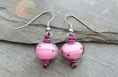 Purple lamp work bead wire wrapped earrings, gunmetal ear wires £10.00
