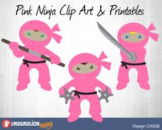Ninja Clip Art & Printables Set (Design CA038)  File Description: - 3 PNG images (transparent background) - 3 PDF files - 300 DPI (high resolution)  This is a set of 3 digital clip art images in PNG format, as well as 3 PDFs for wall art or decorations (images are 1-up on a 8.5 x 11 page, and each image has a white border and dotted cutting line if you desire to cut a border around image). Immediately downloadable once you have purchased this item.  (Silver background not included; for…
