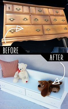 DIY Furniture Hacks |   Repurposed Dresser Bench | Cool Ideas for Creative Do It Yourself Furniture | Cheap Home Decor Ideas for Bedroom, Bathroom, Living Room, Kitchen - http://diyjoy.com/diy-furniture-hacks