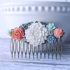 White Peach Grey and Mint Green Vintage Style Flower Hair Comb Bridal Hair Accessory Bridal Hair Comb Bridesmaid Gift by michelledaleigh on Etsy https://www.etsy.com/listing/222802568/white-peach-grey-and-mint-green-vintage