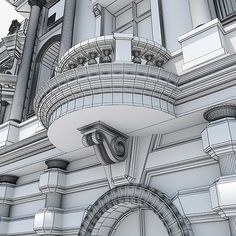 3d model mansion ancient Neoclassical Architecture, Classic Architecture, Facade Architecture, Beautiful Architecture, Door Gate Design, Facade Design, Exterior Design, House Outside Design, House Front Design