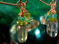 Fluorite Peridot &  Apatite  'Evergreen' Hoop by jewelsthatloveyou, $62.00