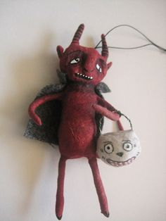 Spun Cotton Red Devil w lantern ornament by Maria by MRCROWSGARDEN, $29.99