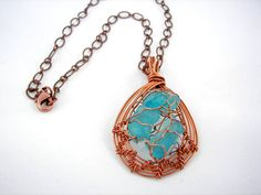Copper and Sea Glass Wire Wrapped Pendant by desertshinejewelry, $65.00