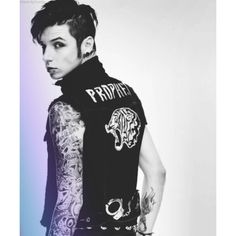 Andy biersack BVB and Andy ❤ liked on Polyvore featuring black veil brides, andy biersack, boys, bvb and extras