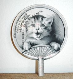 1800s PEABODY boutique SALEM Massachusetts 3 by FISHRAVEN on Etsy, $80.00 Hand Held Fan, Hand Fans, Silly Cats, Funny Cats, Crazy Cat Lady, Crazy Cats, Vintage Calendar, Vintage Fans, Paper Fans