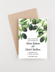 These save the dates are the perfect invitation to set the tone for a Tuscany wedding or an Italian celebration. In water colors in rich greens