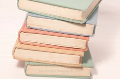 Vintage Pastel Books Photography Print Pale by MemorableImagery, $22.00