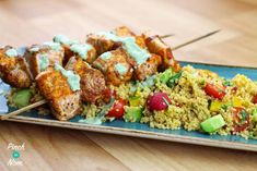 Low Syn Cumin Dusted Salmon Skewers with Moroccan Style Cous Cous - Pinch Of Nom Salmon Recipes, Fish Recipes, Moroccan Fish Recipe, Salmon Skewers, Pinch Of Nom, Sheet Pan Suppers, Couscous Recipes, Salmon Fillets