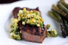 NY Strip with Grilled Corn and Avocado Salsa