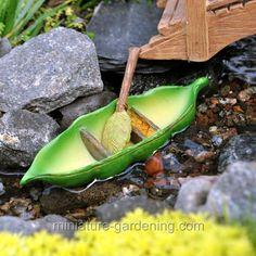 Miniature Fairy Garden Pea Pod Canoe Marshall Home and Ga Fairy Garden Houses, Gnome Garden, Fairy Gardening, Gardening Quotes, Mini Mundo, Fairy Village, Fairy Garden Furniture, Fairy Crafts, Fairy Garden Accessories