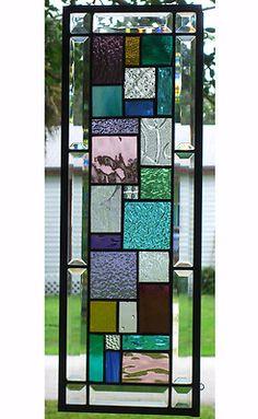 "GEOMETRIC STAINED GLASS WINDOW PANEL - 8"" x 24"" - HANGS TWO WAYS | eBay"