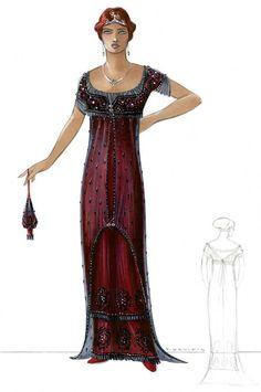 Deborah Lynn Scott - Esquisses et Croquis - Costumière - Titanic 1997 - Rose DeWitt - Kate Winslet
